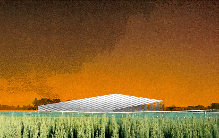 Collage of Arbor Drying Hall in Herselt, Belgium, 2011. Image courtesy of OFFICE.