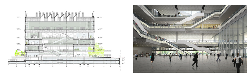 Estudio Herreros & Daniel Bermúdez: ÁgoraBogotá Congress Center. Lobby and section drawing courtesy of eH&DB.