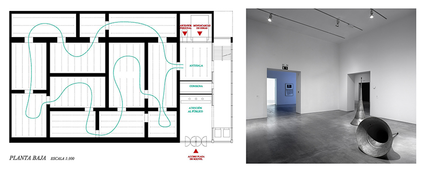 Herreros Arquitectos: Spatial Reorganization of Exhibition Spaces, 2012. Floor plan, image courtesy of Herreros Arquitectos. Interior, photo: Mariela Apollonio.
