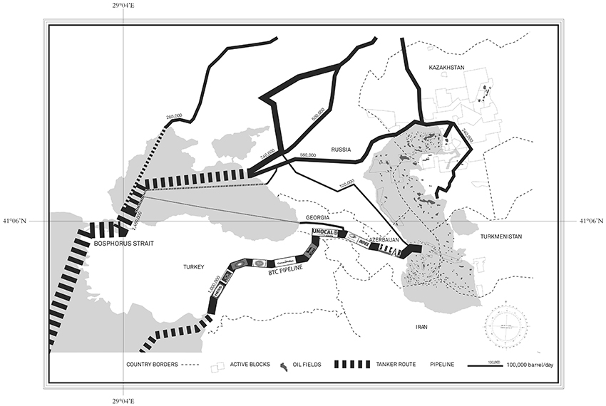 The Bosphorus Strait as a liquid pipeline: regional oil pipeline networks. Image courtesy of Neyran Turan.
