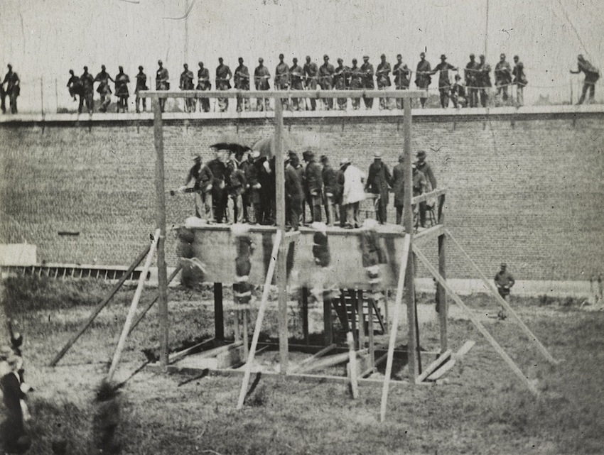 Execution of Lincoln's assassination conspirators, view of scaffold, 1865. Photograph by Alexander Gardener. http://www.loc.gov/pictures/item/2013648747/resource/. Library of Congress Prints and Photographs Division Washington.