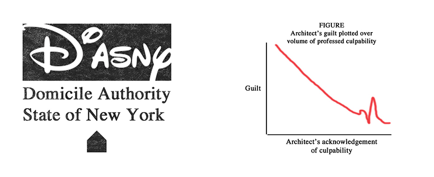 DoASNY Seal and Architect's guilt as plotted over expressed culpability. Image courtesy of Mustafa Faruki and the Lab-lab.