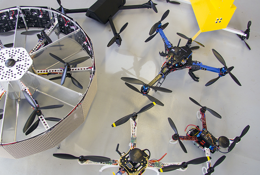 Models of various drones built by Superflux. Image courtesy of Superflux.