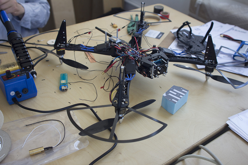 Assembling drone parts at Superflux studio. Image courtesy of Superflux.