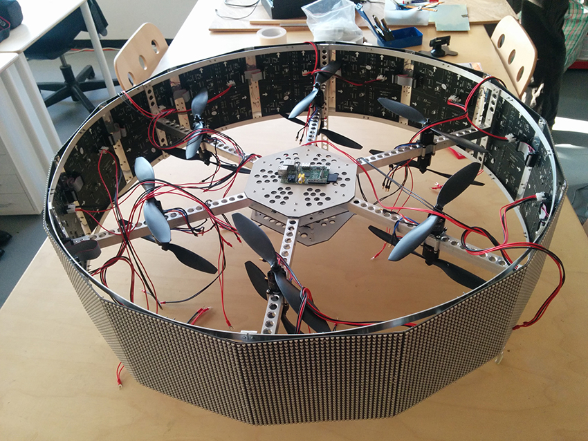Superflux team building drone prototypes and models. Image courtesy of Superflux.
