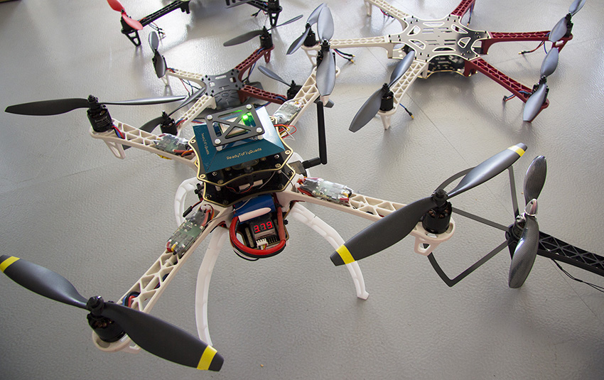 Assembled drone models from off-the-shelf components. Image courtesy of Superflux.