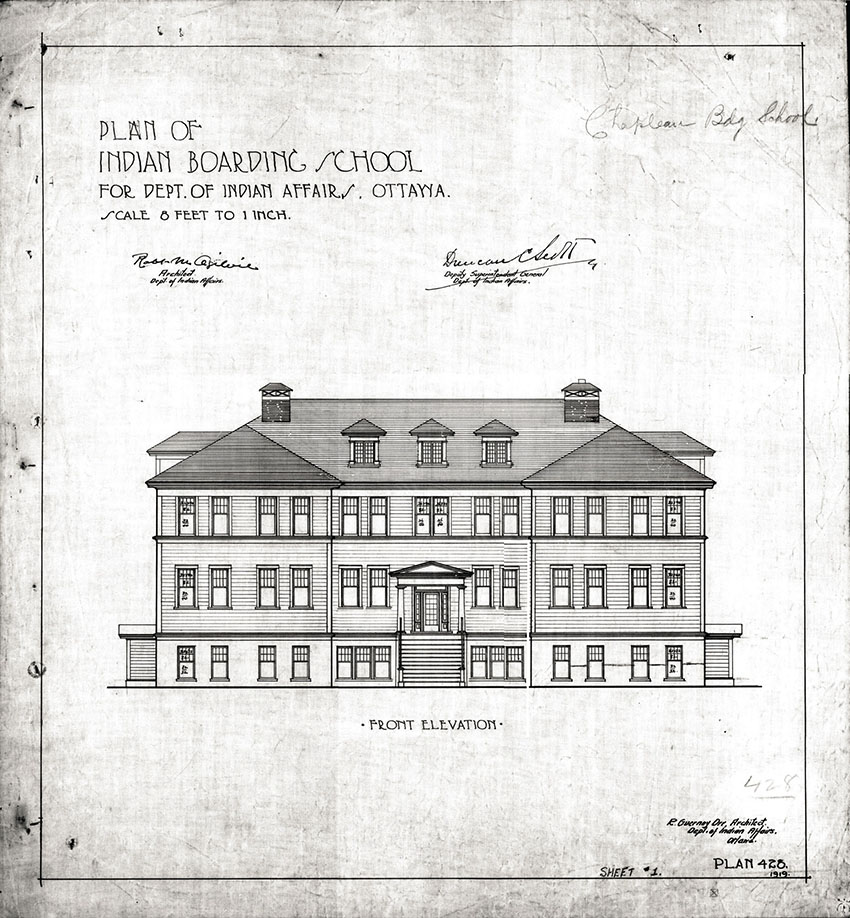 "An elevation of a generic ""Indian Boarding School"" from 1919, designed by Indian Affairs architects R.M. Ogilvie and R.G. Orr. The design was later earmarked for Chapleau, Ontario, according to ephemera in the upper-right corner. © Government of Canada. Reproduced with the permission of Library and Archives Canada (2015). Source:  Library and Archives Canada/Department of Indian Affairs and Northern Development fonds, Item # 302-311."