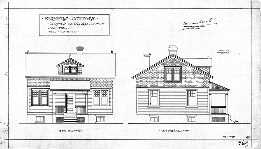 Design for a farmer's cottage intended to be built on reserves in the Portage la Prairie Agency in Manitoba 1915. Drawn by R.G. Orr under the supervision of Chief Architect R.M. Ogilvie. © Government of Canada. Reproduced with the permission of Library and Archives Canada (2015). Source: Library and Archives Canada, Department of Indian Affairs and Northern Development fonds, NMC177717 and NMC177718.