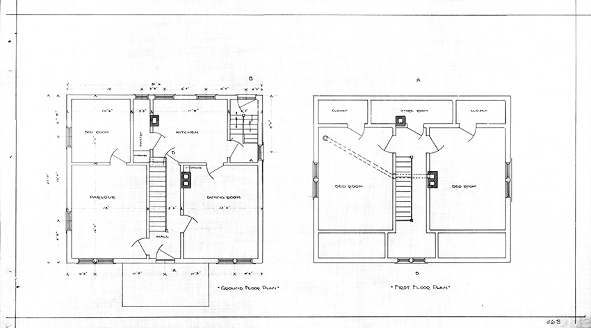Design for a farmer's cottage intended to be built on reserves in the Portage la Prairie Agency in Manitoba 1915. Drawn by R.G. Orr under the supervision of Chief Architect R.M. Ogilvie. © Government of Canada. Reproduced with the permission of Library and Archives Canada (2015). Source: Library and Archives Canada, Department of Indian Affairs and Northern Development fonds, NMC177718.
