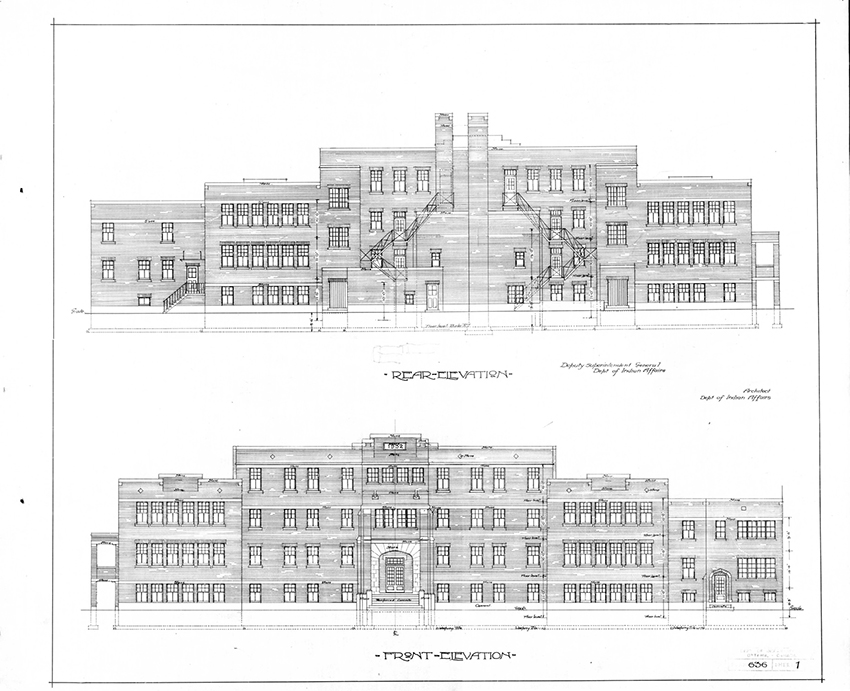 Design for the new Shingwauk Indian Residential School in Sault Ste. Marie, Ontario that underwent a significant change during a two-year hiatus brought on by the Depression. The original drawings by R.G. Orr from 1932 reveal a Classical Moderne design similar to other schools built around 1930. A second version of the design from 1934 (constructed in 1935), depicts a Collegiate Gothic design akin to Orr's earlier work from the 1920s. © Government of Canada. Reproduced with the permission of Library and Archives Canada (2015). Source: Library and Archives Canada/Department of Indian Affairs and Northern Development fonds, 1211-1268.