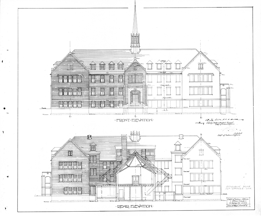 Design for the new Shingwauk Indian Residential School in Sault Ste. Marie, Ontario that underwent a significant change during a two-year hiatus brought on by the Depression. The original drawings by R.G. Orr from 1932 reveal a Classical Moderne design similar to other schools built around 1930. A second version of the design from 1934 (constructed in 1935), depicts a Collegiate Gothic design akin to Orr's earlier work from the 1920s. © Government of Canada. Reproduced with the permission of Library and Archives Canada (2015). Source: Library and Archives Canada/Department of Indian Affairs and Northern Development fonds, 1256-1268.