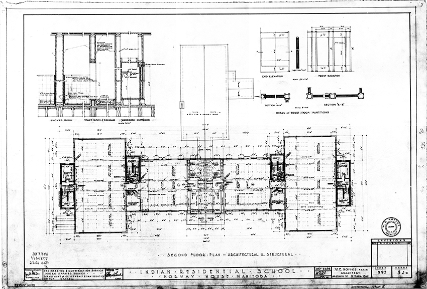 Second floor plan of the Indian Residential School at Norway House, Manitoba, designed by architect W.E. Noffke in 1952. At the time of this design, Indian Affairs was, ironically, the concern of the Department of Citizenship and Immigration.© Government of Canada. Reproduced with the permission of Library and Archives Canada (2015). Source: Library and Archives Canada/Department of Indian Affairs and Northern Development fonds, 997.