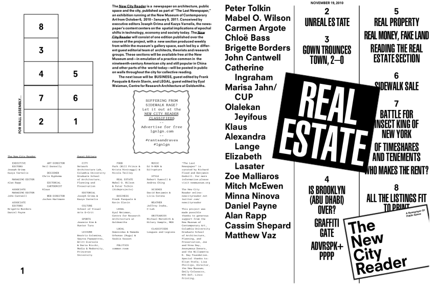 The New City Reader: Real Estate (November 2010). Guest edited by Mabel Wilson and Peter Tolkin. Courtesy of Kazys Vernalis and Joseph Grima.